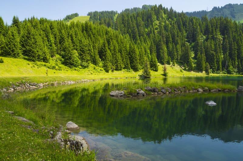 Lac De Los angeles Mouille, jezioro w Savoie regionie, Francja zdjęcie royalty free