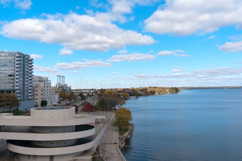 Lac de négligence Monona à Madison photographie stock