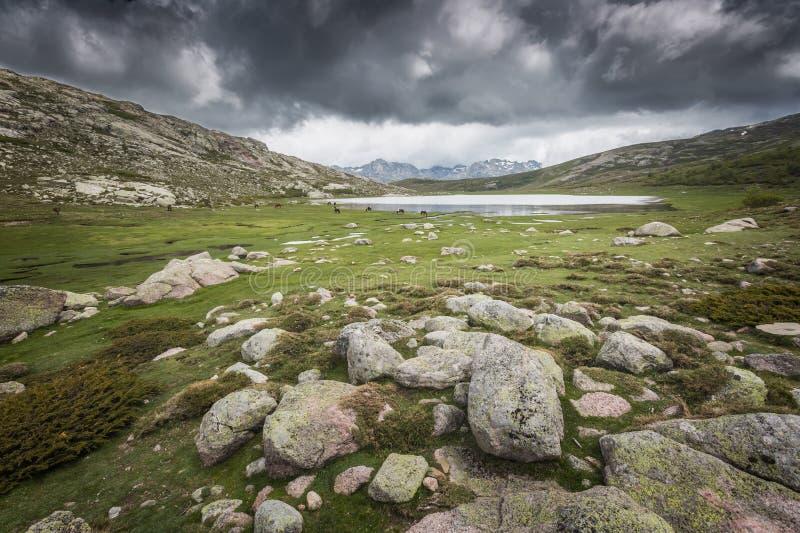 Lac De Nino in Korsika mit Bergen im Hintergrund stockfoto