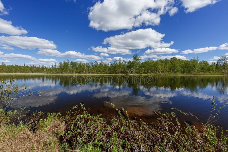 Lac du nord froid avec avec des nuages de réflexion dans l'eau photo stock