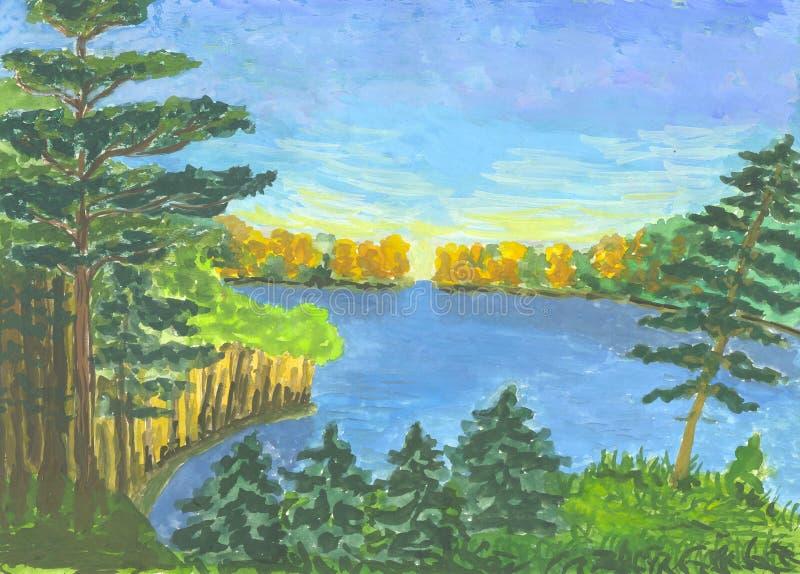 Lac du `s de forêt illustration de vecteur