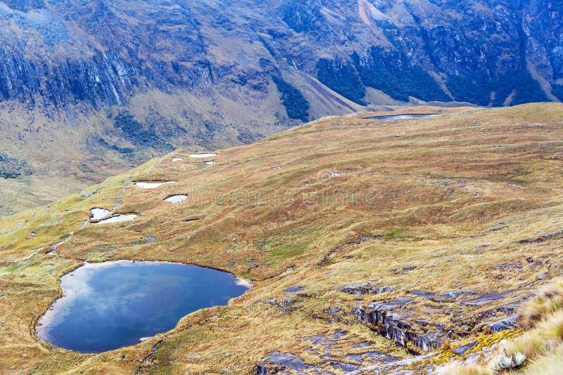 Lac en montagnes des Andes près de Huaraz, Pérou images libres de droits