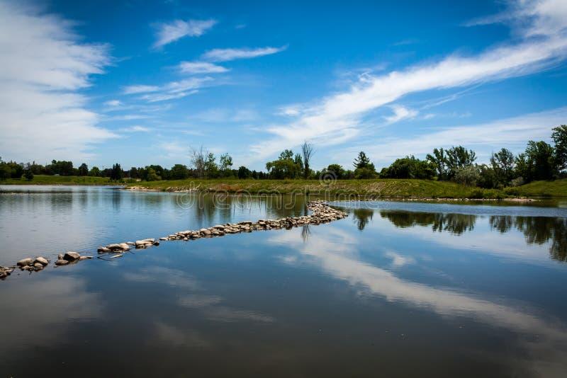 Lac et ciel bleu photographie stock libre de droits