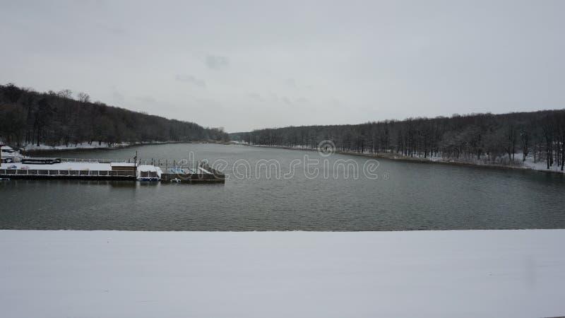 Lac et forêt pendant l'hiver images stock