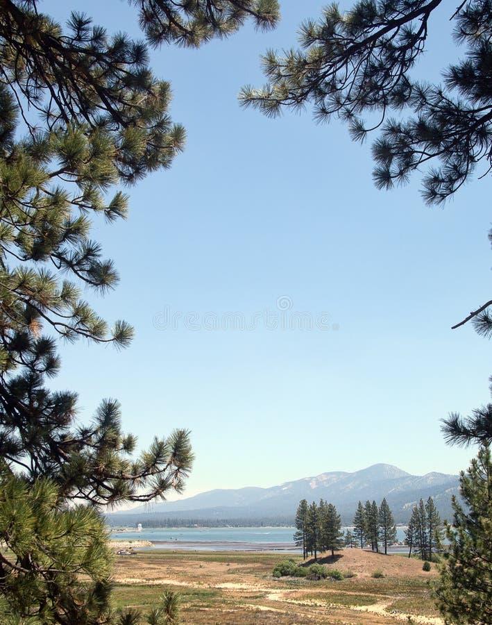 Lac et montagnes par des arbres photographie stock libre de droits