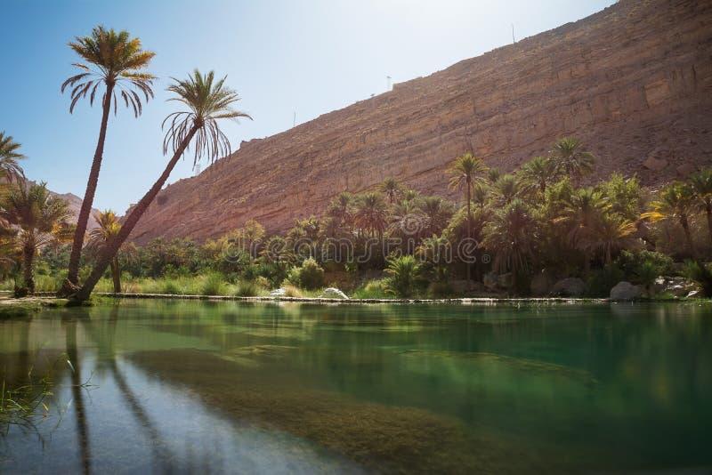 Lac et oasis stupéfiants avec des palmiers Wadi Bani Khalid photos stock