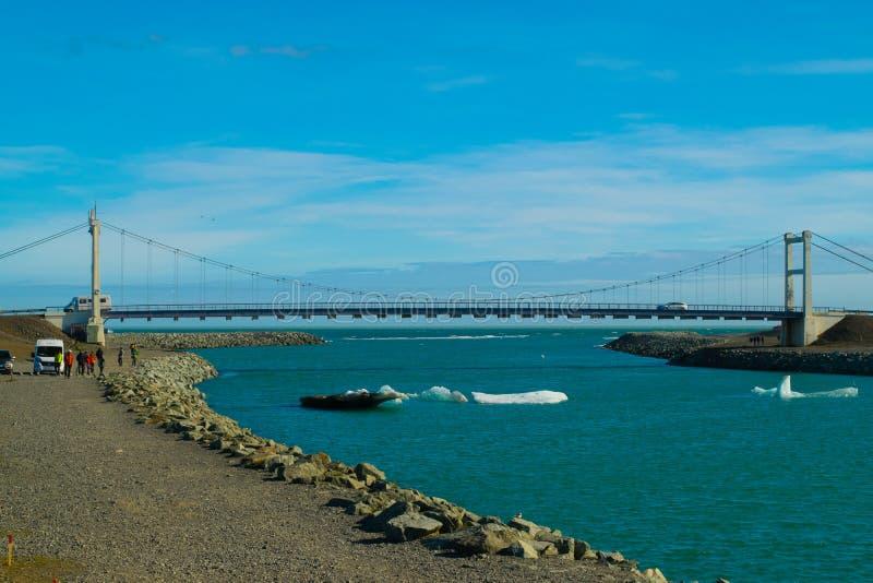 Lac et pont glacier de Jokulsarlon photo stock