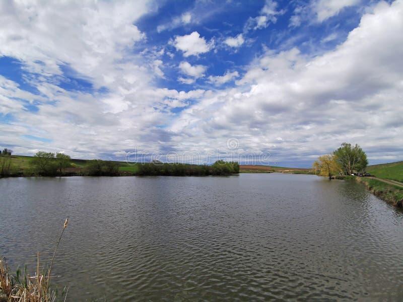 Lac et pré ruraux de paysage de ressort image stock