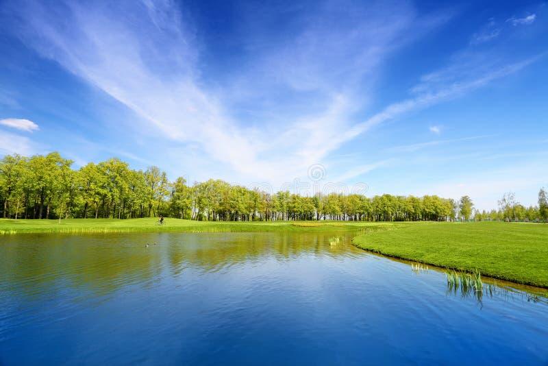 Lac et pré vert image stock