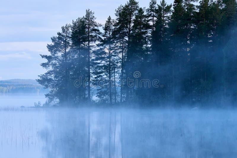 Lac finlandais avec le brouillard photo libre de droits