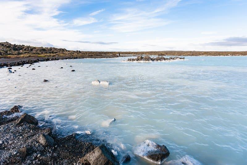 Lac géothermique lagoon bleue dans le domaine de Grindavik photos libres de droits
