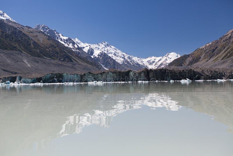 Lac glacier de Tasman Aoraki/cuisinier National Park New la Zélande de bâti photographie stock