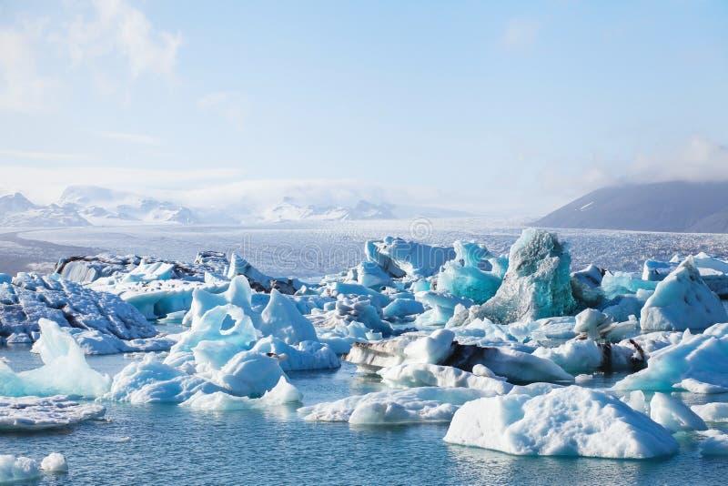 Lac glacier en Islande images libres de droits
