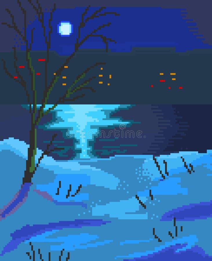 Lac la nuit, art de pixel illustration de vecteur