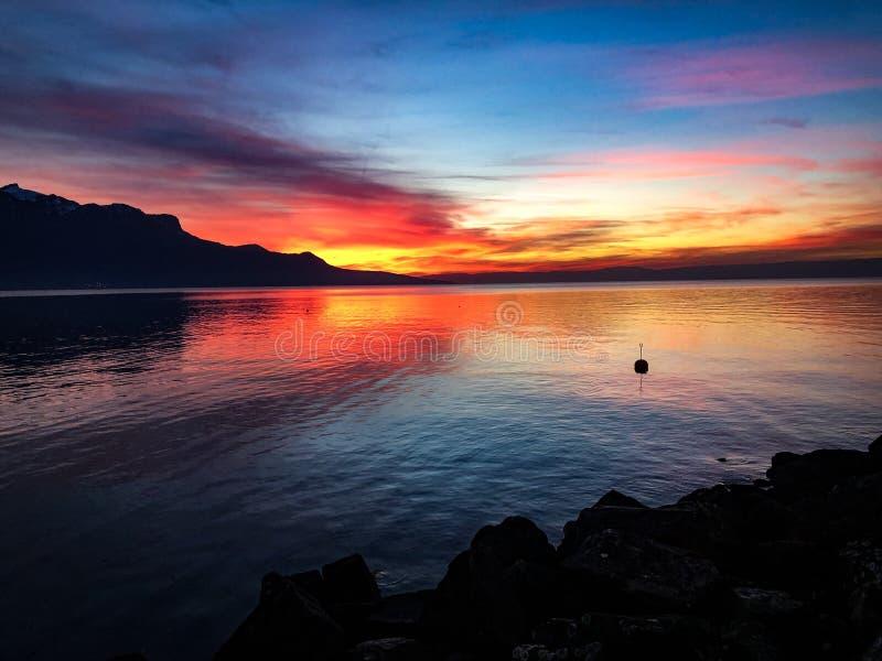 lac leman стоковая фотография rf