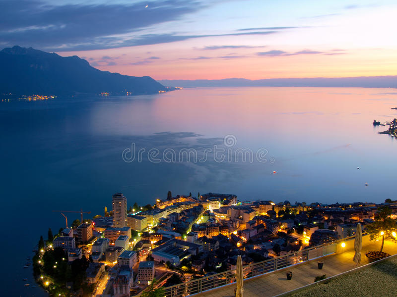 Download Lac Leman And Montruex At Dawn Stock Photo - Image: 15976530