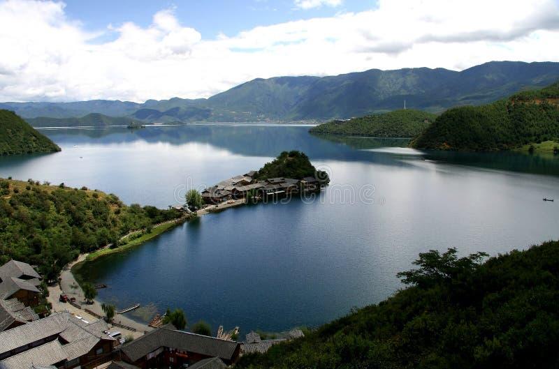 Lac Lugu, Lijiang, Yunnan, Chine photo stock