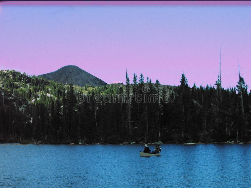 Lac Marie Snowy Mountains Wyoming canoe photos stock