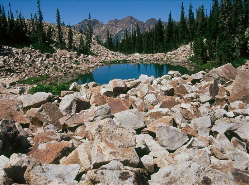 Lac Maybird, réserve forestière d'Uinta-Wasatch-cachette, chaîne de Wasatch, Utah photos stock
