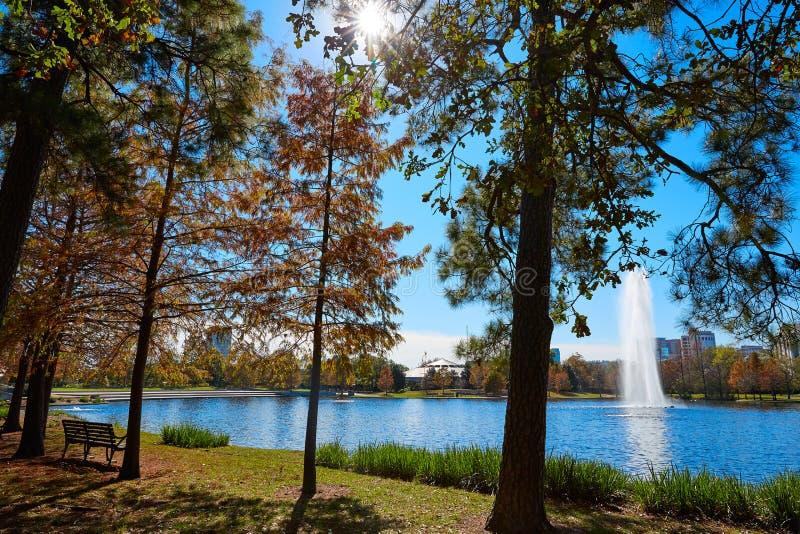 Lac Mcgovern de parc de Houston Hermann photographie stock libre de droits