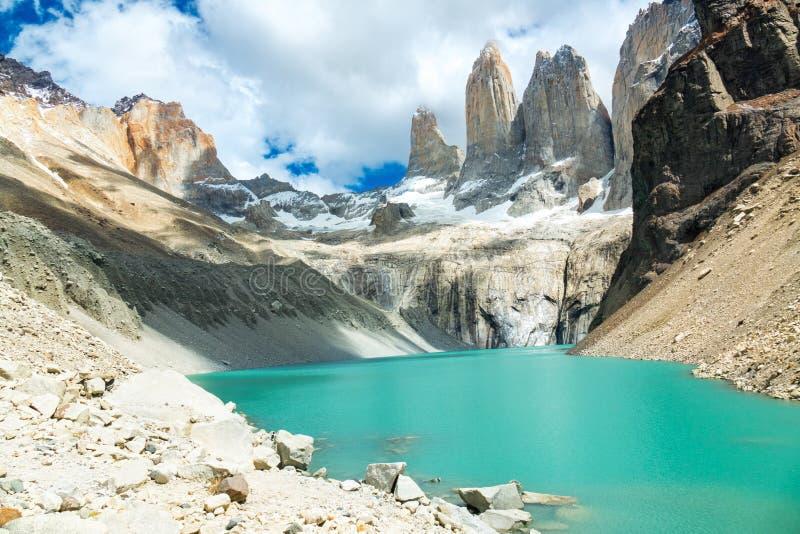 Lac mountain en parc national Torres del Paine, paysage de Patagonia, Chili, Amérique du Sud photos libres de droits