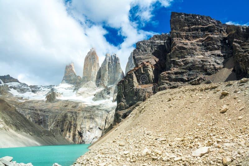Lac mountain en parc national Torres del Paine, paysage de Patagonia, Chili, Amérique du Sud image stock