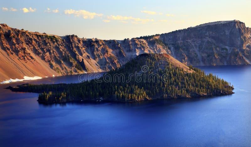 Lac Orégon crater d'île de magicien images libres de droits