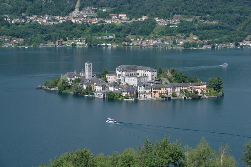 Lac Orta, île de San Giulio, Italie Lacs italiens nordiques images libres de droits