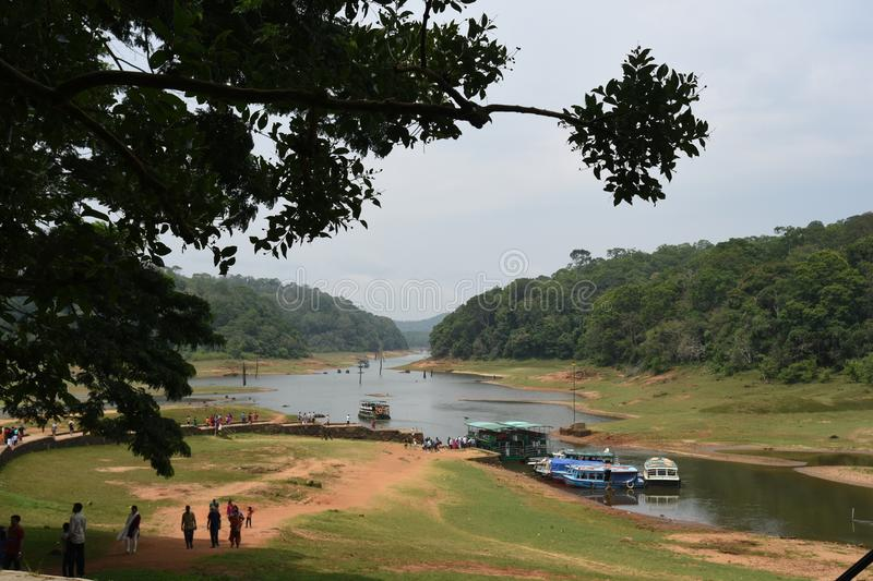 Lac Periyar et parc national, Thekkady, Kerala photos stock