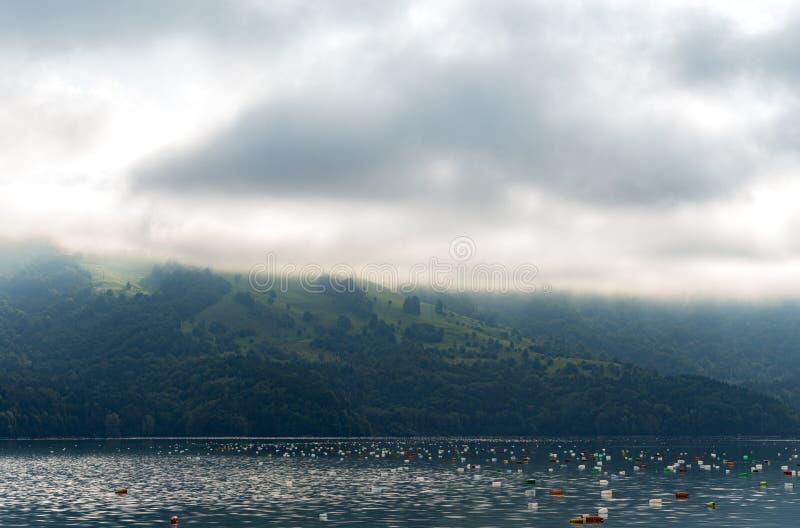 Lac pollué dans les montagnes images libres de droits