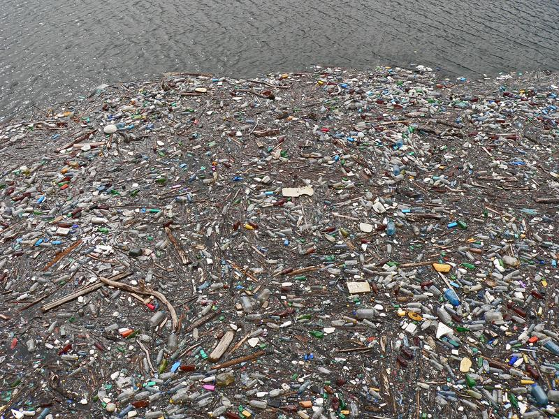Lac pollué Pollution dans l'eau Bouteilles en plastique Les maladies et maladies photo libre de droits