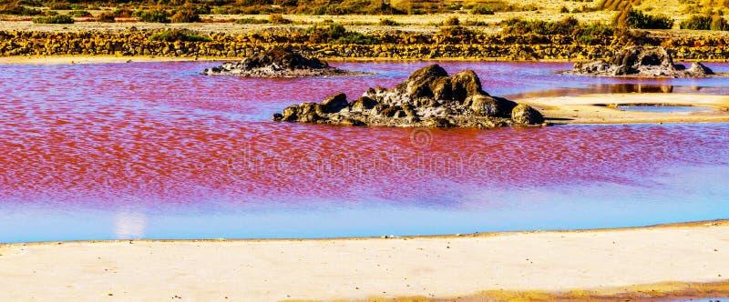 Lac rose en Espagne, phénomène peu commun, influence minérale sur le wat photo stock