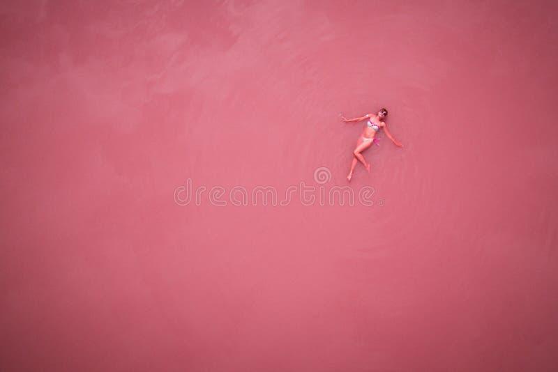 Lac rose, vue supérieure photo stock