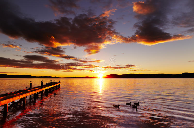 Lac Rotorua, Nouvelle Zélande photo stock