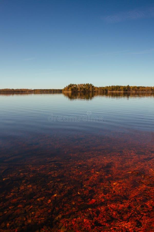Lac rouge et calme et forêt éloignée photographie stock