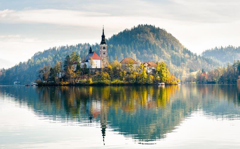 Lac saigné Beau lac de montagne avec petit Pilgrimag photo libre de droits