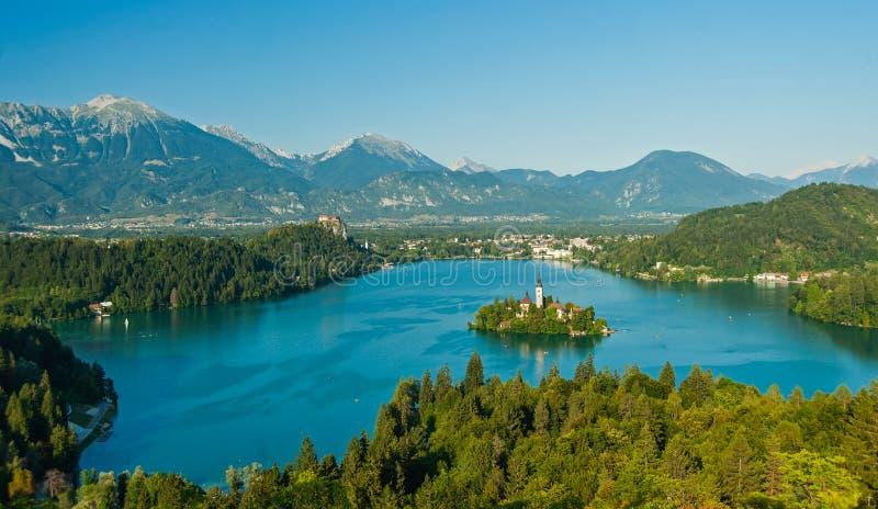 Lac saigné, vue de Slovénie ci-dessus photographie stock