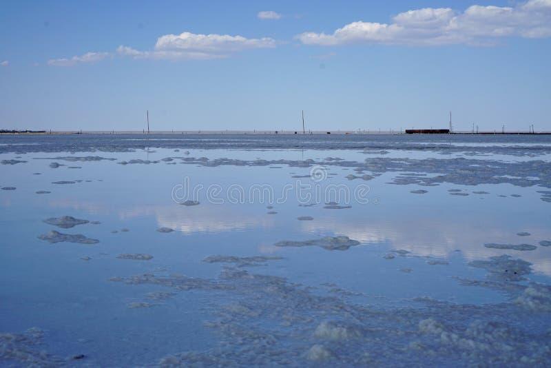 Lac salt, sel, lac Baskunchak en Russie, photos libres de droits