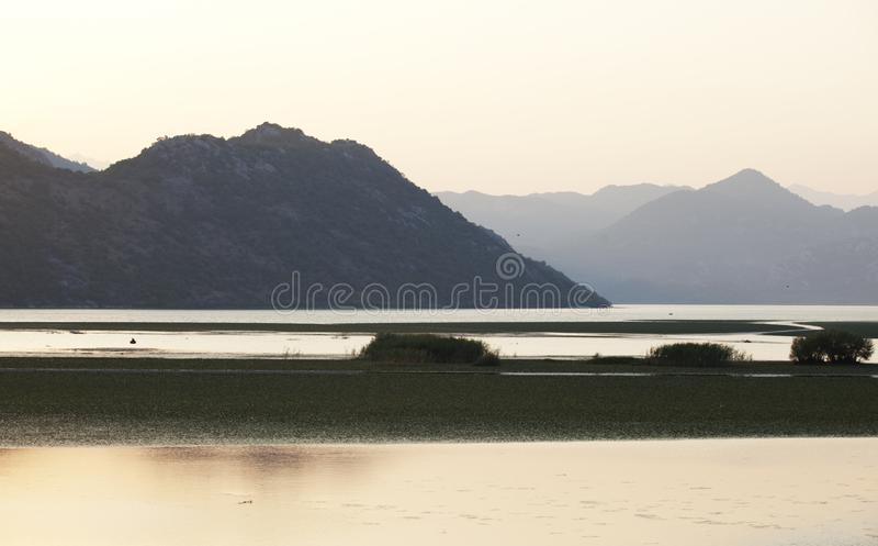 Lac Skadar à la frontière avec Monténégro et l'Albanie image libre de droits