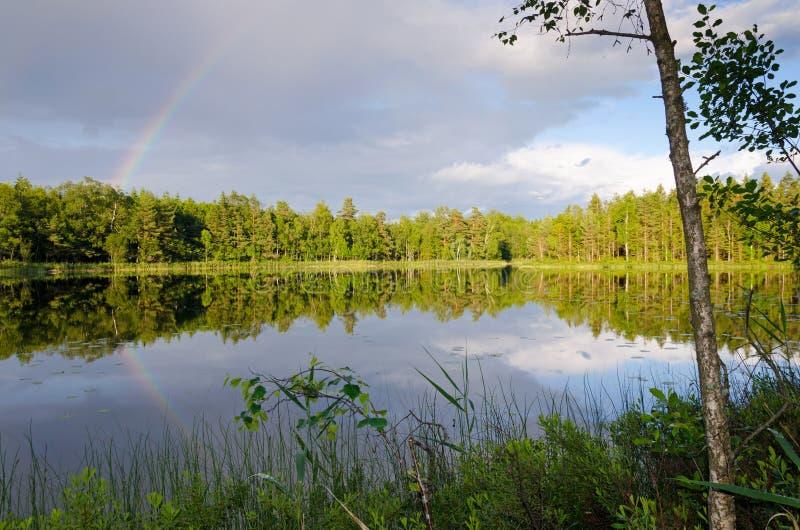 Lac suédois avec l'arc-en-ciel image libre de droits