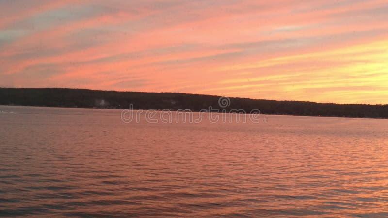 Lac sunset image libre de droits