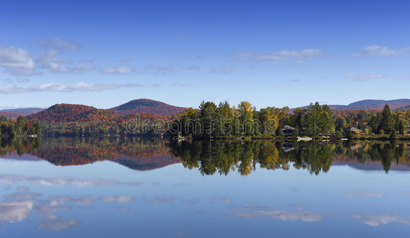 Lac-Superieur, Mont-tremblant, Quebec, Canada. View of the Lac-Superieur, in Laurentides, Mont-tremblant, Quebec, Canada, during indian summer stock photography