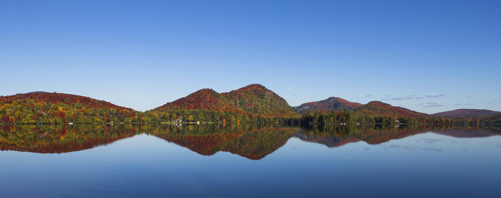Lac-Superieur, Mont-tremblant, Quebec, Canada. View of the Lac-Superieur, in Laurentides, Mont-tremblant, Quebec, Canada, during indian summer royalty free stock images