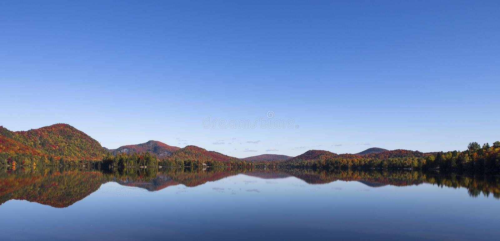 Lac-Superieur, Mont-tremblant, Quebec, Canada. View of the Lac-Superieur, in Laurentides, Mont-tremblant, Quebec, Canada, during indian summer stock image