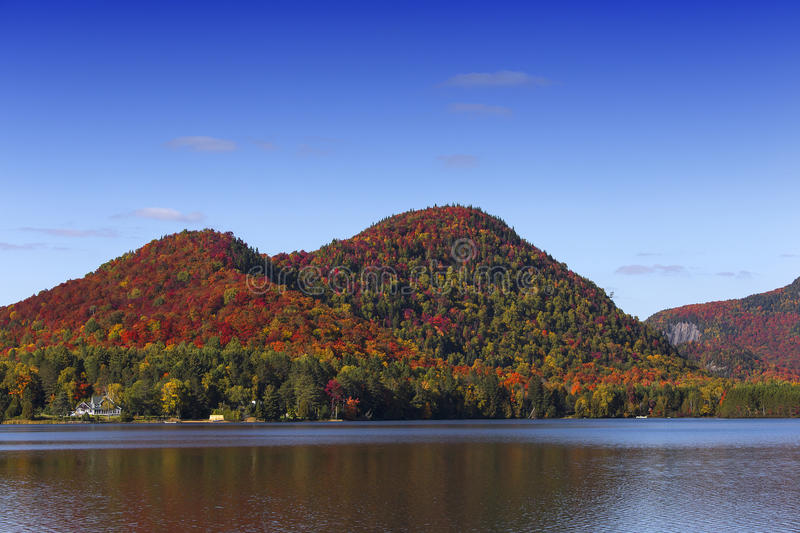 Lac-Superieur, Mont-tremblant, Quebec, Canada. View of the Lac-Superieur, in Laurentides, Mont-tremblant, Quebec, Canada, during indian summer royalty free stock photography