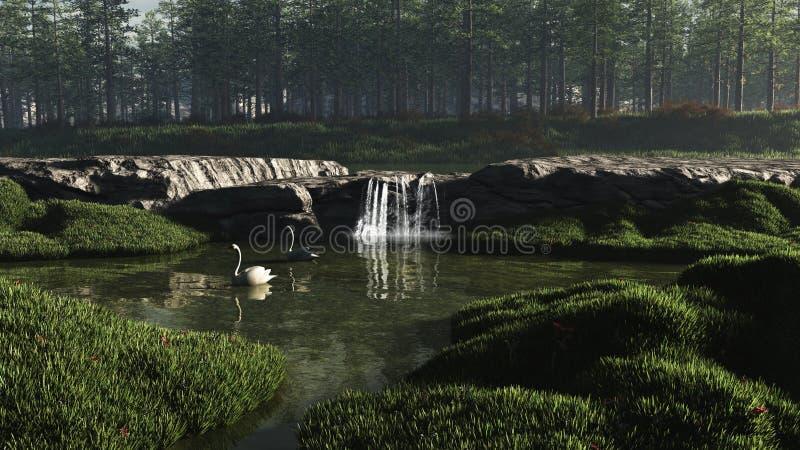 Lac swan avec la cascade à écriture ligne par ligne illustration stock