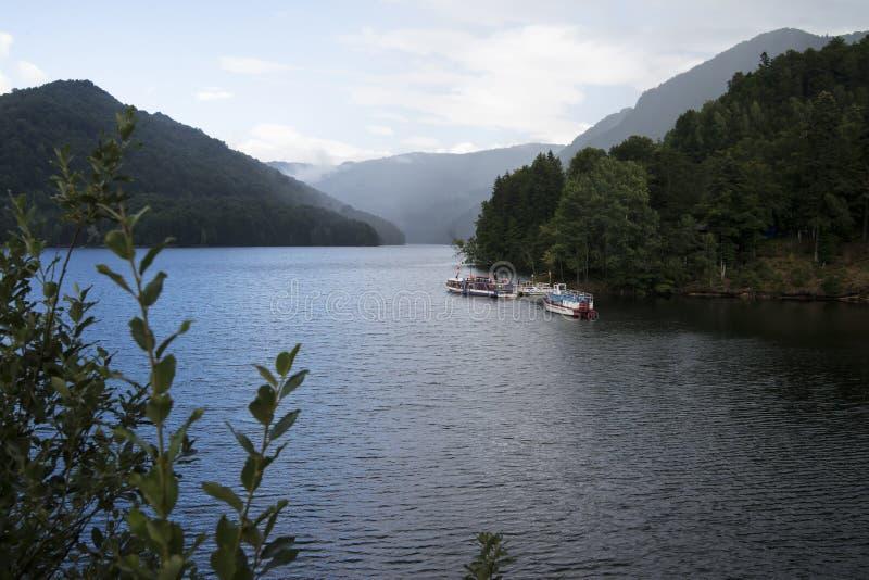 Lac Vidraru sur le barrage en montagnes carpathiennes, Roumanie images libres de droits