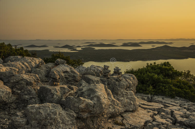 Lac Vransko et îles de Kornati photographie stock libre de droits