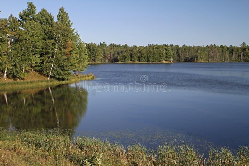 Lac wilderness en soleil lumineux photographie stock libre de droits
