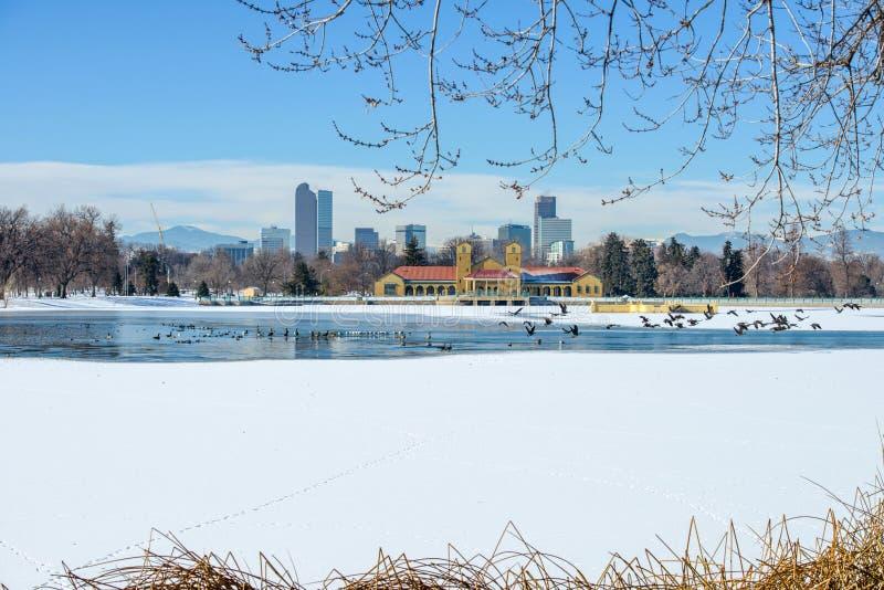 Lac winter à Denver du centre image libre de droits
